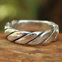 Men's sterling silver band ring, 'Lives Entwined'