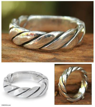 Men's sterling silver band ring, 'Lives Entwined' - Men's Handcrafted Sterling Silver Band Ring