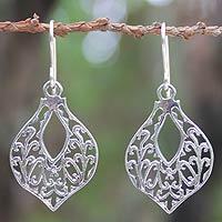 Sterling silver dangle earrings, 'Lace Petals'