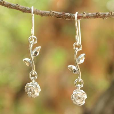 Sterling silver dangle earrings, 'Garland' - Thai Sterling Silver Dangle Earrings
