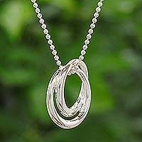 Sterling silver pendant necklace, 'Lovers' - Modern Sterling Silver Pendant Necklace
