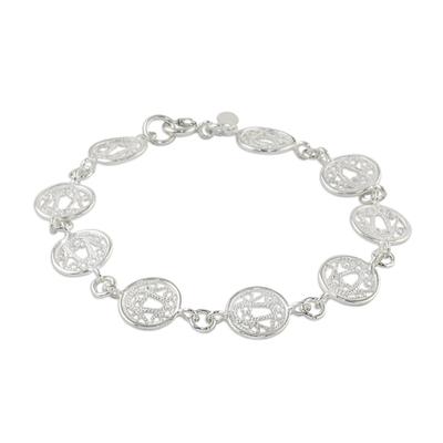 Handcrafted Sterling Silver Filigree Circle Link Bracelet