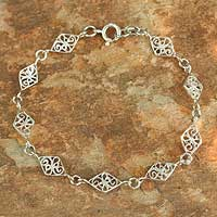 Sterling Silver Link Bracelet Filigree Diamonds (thailand)