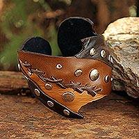 Leather cuff bracelet, 'Honey' - Leather Cuff Bracelet
