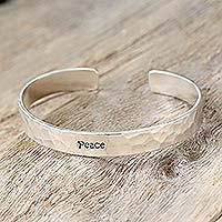 Sterling silver cuff bracelet, 'Peace'