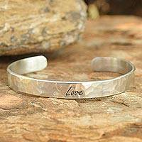 Sterling silver cuff bracelet, 'Love' - Handcrafted Sterling Silver Cuff Bracelet