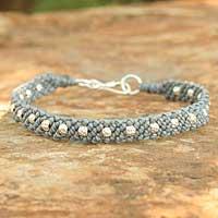 Silver braided bracelet,