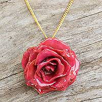 Natural rose pendant necklace, 'Sweet Pink' - Handcrafted Natural Flower Pendant Necklace