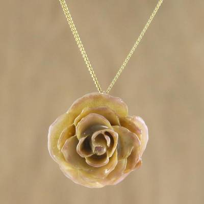 Natural rose pendant necklace, 'Pink Caress' - Natural Flower Pendant Necklace from Thailand