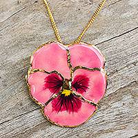 Natural flower gold pendant necklace, 'Pink Pansy' - Gold Plated Natural Flower Pendant Necklace