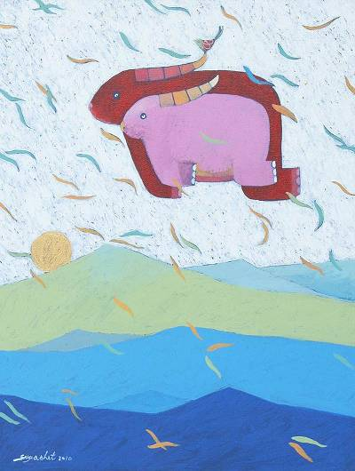 'Together' - Flying Buffaloes Original Naif Painting