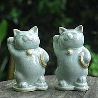 Celadon ceramic statuettes, 'Charming Good Luck Cats' (pair) - Celadon Ceramic Sculptures (Pair)
