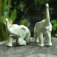Celadon ceramic statuette, 'Welcoming Elephants' (pair) - Celadon Ceramic Sculptures from Thailand