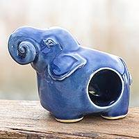 Celadon ceramic oil warmer, 'Calm Blue Elephant' - Celadon Ceramic Oil Warmer