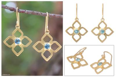 Gold plated blue topaz flower earrings, 'Thai Bloom' - Gold plated blue topaz flower earrings