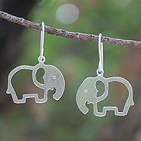 Sterling silver drop earrings, 'Moonlit Elephants'
