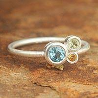 Blue topaz and citrine cocktail ring, 'Chiang Mai Majesty' (Thailand)