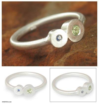 Modern Silver Peridot and Sapphire Ring