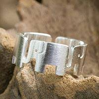 Sterling silver band ring, 'Elephant Pride' - Sterling Silver Elephant Band Ring from Thailand