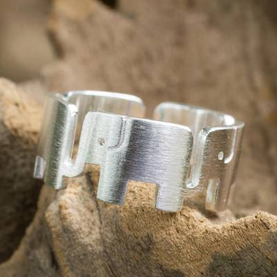 unique mens silver rings - Sterling Silver Elephant Band Ring from Thailand