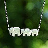 Sterling silver pendant necklace, 'Elephant Pride'