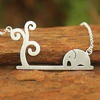 Sterling silver pendant necklace, 'Elephant Kingdom'