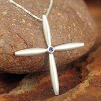 Iolite cross necklace, 'Visionary' - Modern Sterling Silver and Iolite Pendant Necklace