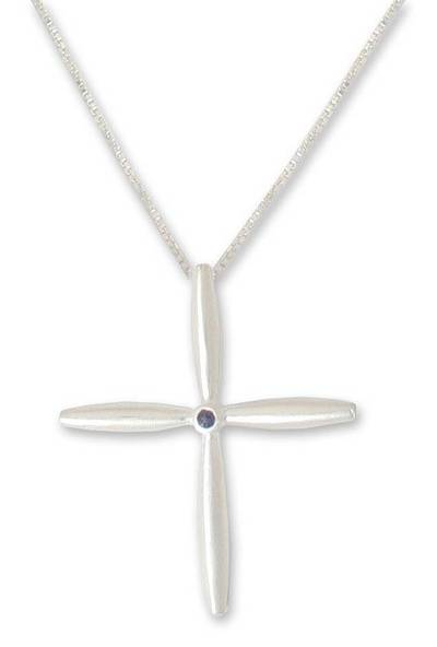 Modern Sterling Silver and Iolite Pendant Necklace