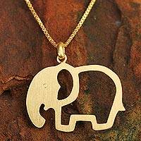 Gold plated pendant necklace, 'Sunlit Elephant'