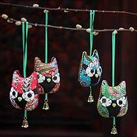 Cotton ornaments, 'Merry Owls' (set of 4) - Cotton ornaments (Set of 4)