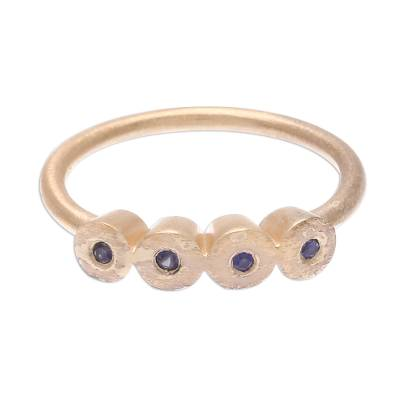 Gold plated sapphire cocktail ring