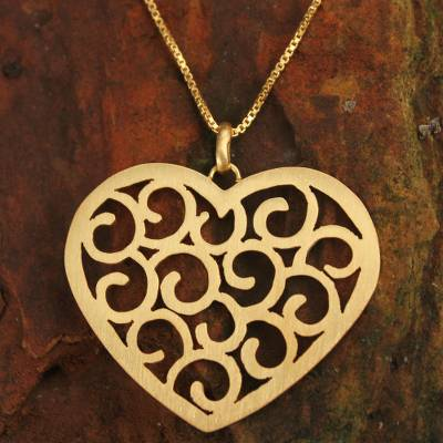 Gold plated heart necklace, 'Thai Love' - Gold Plated Heart Necklace