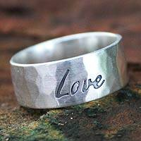 Sterling silver band ring, 'Spirit of Love' - Fair Trade Inspirational Sterling Silver Band Ring