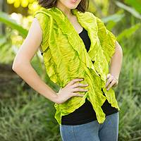 Scarf, 'Green Extravaganza' - Fair Trade Rayon Scarf