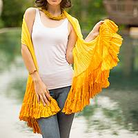 Scarf, 'Lemon Ruffles' - Yellow Rayon Scarf from Thailand