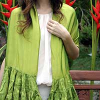 Scarf, 'Lime Ruffles' - Scarf
