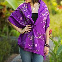 Shawl, 'Violet Dragonfly Secrets' - Embroidered Purple Shawl