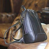 Leather backpack handbag, 'Chonburi Mystique' - Black Leather Backpack Handbag