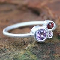 Amethyst and sapphire cocktail ring, 'Chiang Mai Majesty' - Amethyst and sapphire cocktail ring