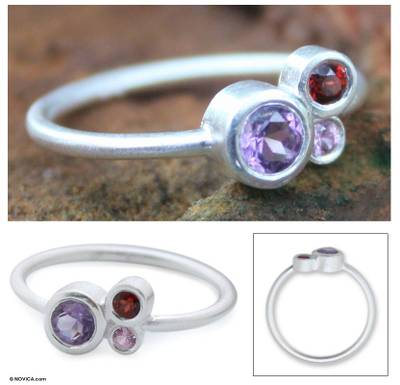 earrings for men amazon - Amethyst and sapphire cocktail ring