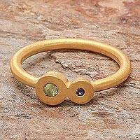 Gold plated sapphire and peridot cocktail ring, 'Sister My Sister' - Gold plated sapphire and peridot cocktail ring