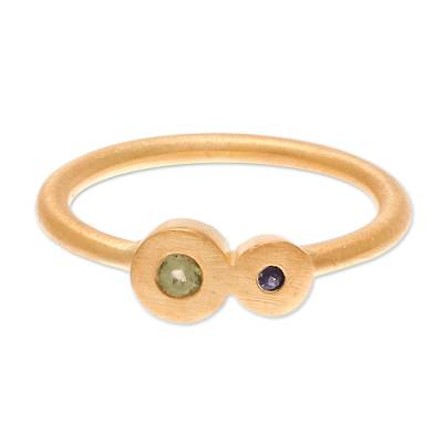 Gold plated sapphire and peridot cocktail ring
