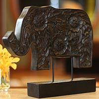 Wood sculpture Blossoming Elephant Thailand