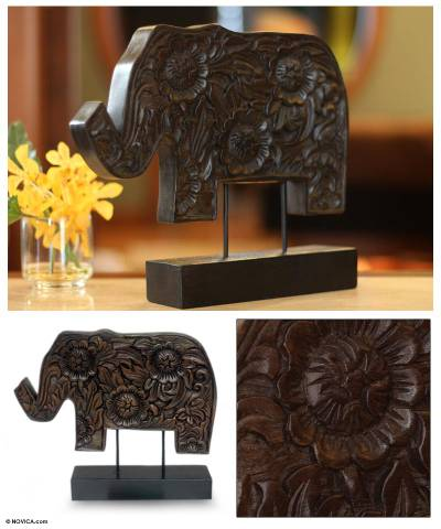 Wood sculpture, 'Blossoming Elephant' - Wood sculpture