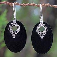 Sterling silver and wood dangle earrings, 'Chiang Mai Charm' - Mango Wood Dangle Earrings