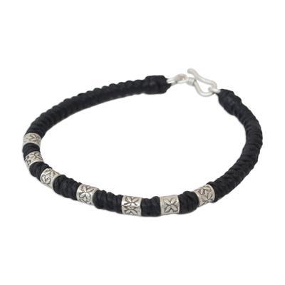 Hand Made Floral Fine Silver Braided Bracelet