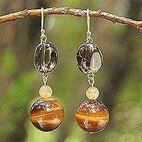 Tiger's eye and citrine dangle earrings, 'Goldenrod' - Beaded Tiger's Eye Earrings
