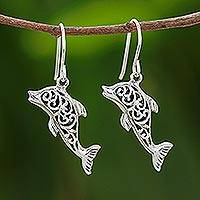 Sterling silver dangle earrings, 'Dolphin Song' - Handmade Sterling Silver Dangle Earrings