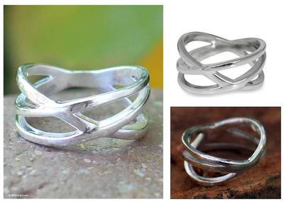 cz ringneck 20 - Handcrafted Modern Sterling Silver Band Ring