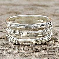 Sterling silver band ring, 'Thai Bamboo'